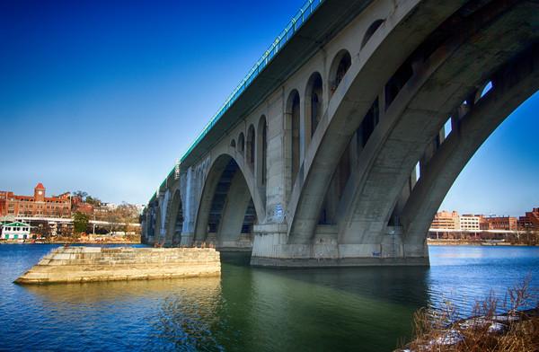 A Fine Art Photograph of Key Bridge From The Shore by Michael Pucciarelli
