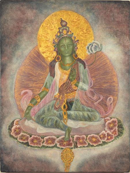 Green Tara print by Andrea Bowes.