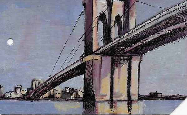 A painting of the Brooklyn Bridge on the back of a used NYC Metrocard