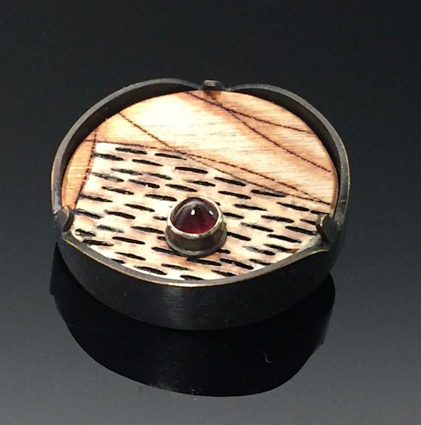 Wooden Brooch With Red Jewel Hand Crafted by artist David Clemons.