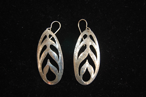 Silver Leaf Shaped Earrings Hand Crafted by McLees Baldwin.