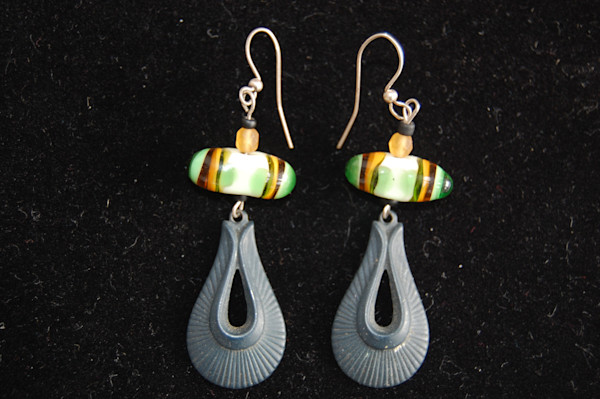 Green Fused Glass Earrings with Metal Hanging Piece Hand Crafted by Sage and Tom Holland.