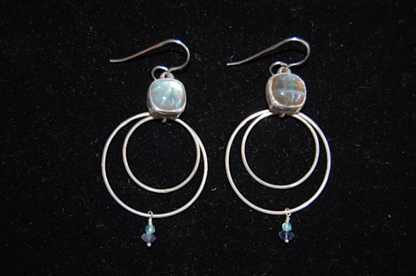 Silver Earrings with Blue and Purple Beads Hand Crafted by artist  McLees Baldwin.