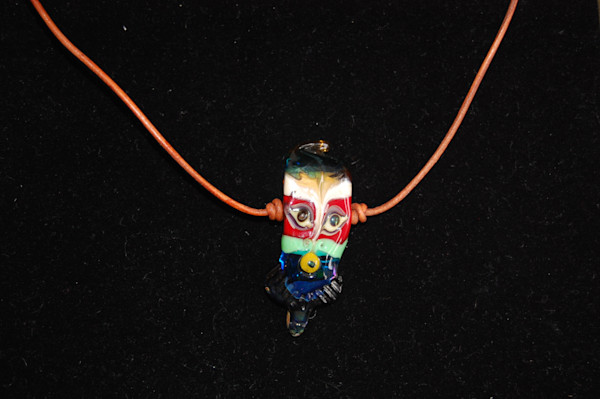 Fused Glass Bearded Mask Necklace Hand Crafted by artists Sage and Tom Holland.