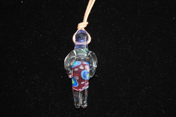 Sky Spirit Fused Glass Necklace Hand Crafted by Sage and Tom Holland.