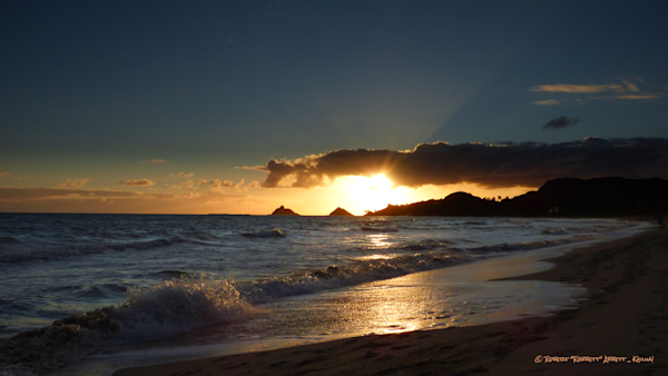 Lighting from the heavens, great to be out this early, wonders do not happen if you stay in bed Robert Abbett Kailua Hawaii Art!