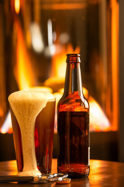 Beer, Glass & Fireplace (171996FBND8RM) Photograph for Sale as Commercial Product or Digital Licensing