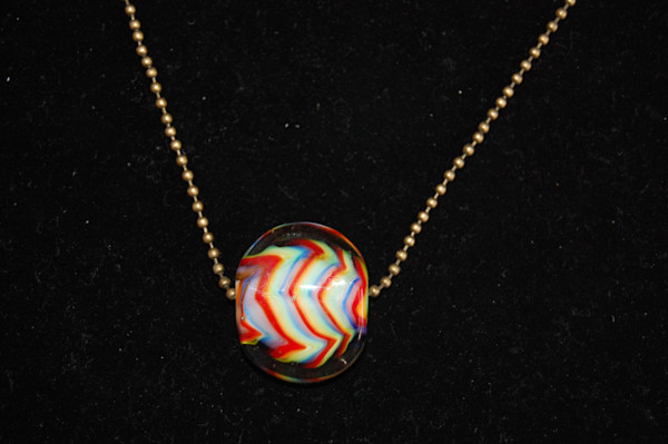 Fused Glass Rainbow Bead on Ball Chain Hand Crafted by Sage and Tom Holland.