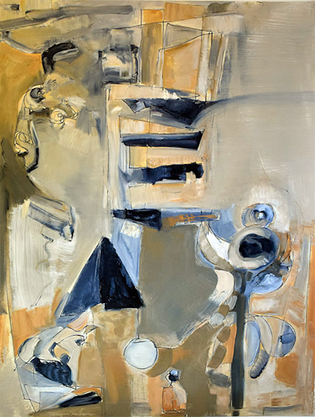 Interior still Life, abstract oil painting inspired by Arshile Gorky art