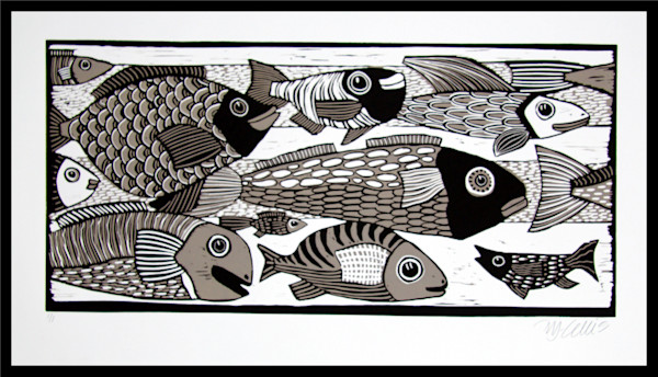 fish print in black and brown for him, masculine linocut by Mariann Johansen-Ellis, art, paintings