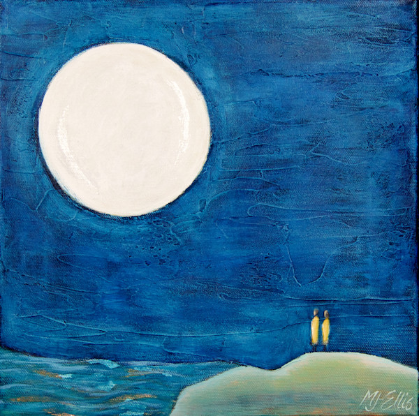moon and night sky with lovers in this small acrylic painting on canvas with metal leaf by Mariann Johansen-Ellis, art, paintings