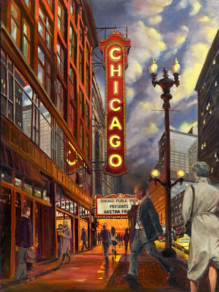 Chicago Theater print by Rick Brawner.