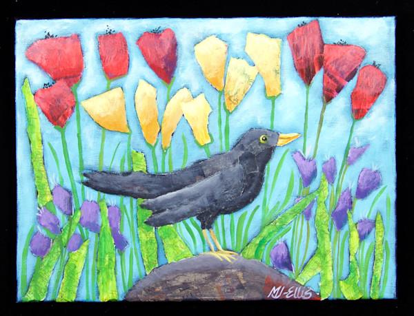 blackbird in garden scene, with yellow and red flowers, acrylic on canvas, collage, paintings, art, Mariann Johansen-Ellis