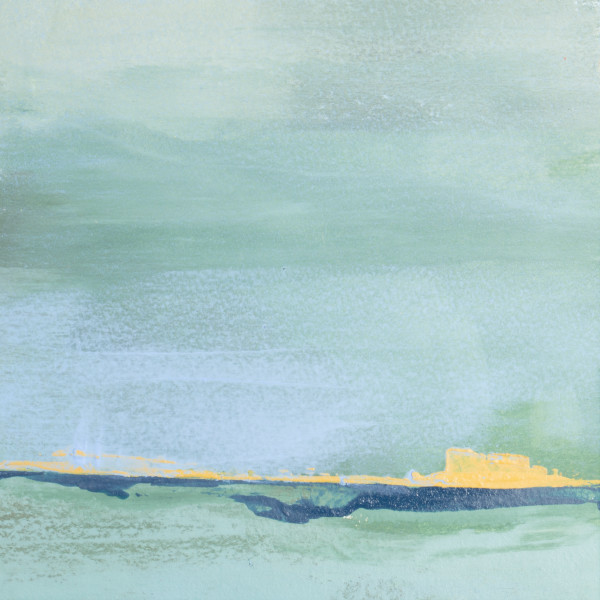 A coastal view painted in abstract oil and cold wax by Mark Witzling