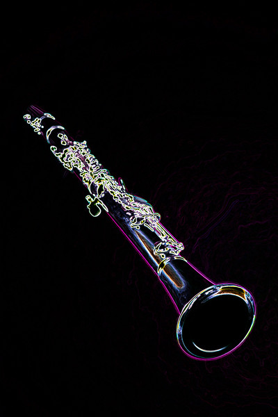 Drawing of Clarinet Music Instrument Wall Art 3011.05