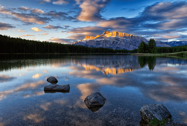 Sunrise at Mt Rundle photo print by Fred Neveu.