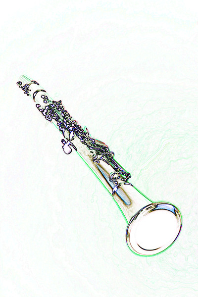 Clarinet Drawing Metal Wall Art 3011.06