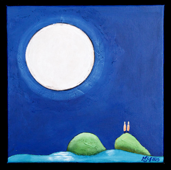 acrylic painting on canvas, ready to hang, art, paintings, blue night, night sky with full moon, Mariann Johansen-Ellis