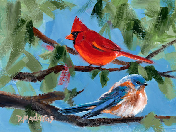 The Cardinal & the Bluebird | Southwest Art Gallery Tucson