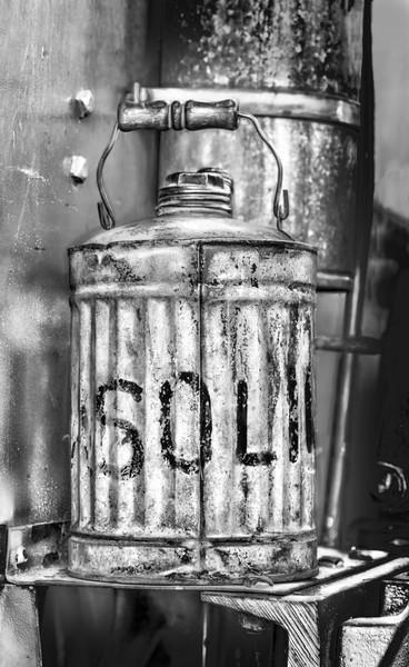 Oil Pull Farm Tractor Gasoline Can Black & White fleblanc