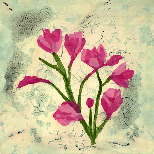 Sweet Sentiments contemporary botanical abstract original painting by Jana Kappeler.