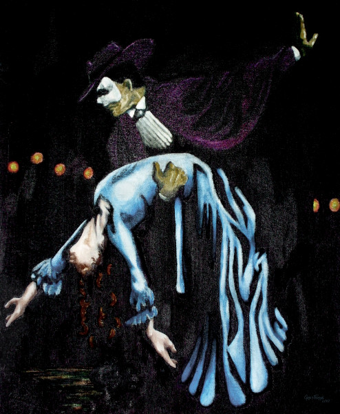 Phantom of the Opera. Oil rub painting by Grey Forge LeFey, the artist formerly known as Doug Tennant