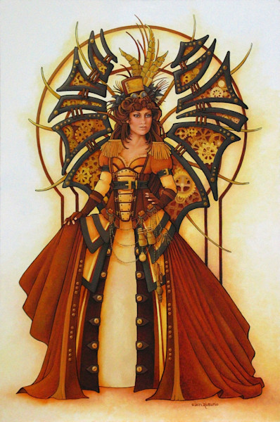 Steampunk Fairy is an original oil painting. This piece of art is 24 inches wide and is 36 inches tall.