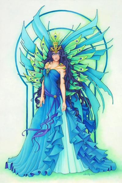 Peacock Fairy is an original painting from my Masquerade Art Series.