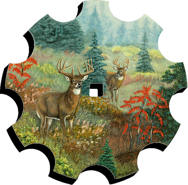 Dreaming Whitetails print form cut out by Sue Zabel.