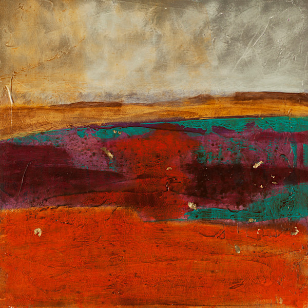 Canyon Echo contemporary abstract landscape painting featuring gold leaf and textural layering by Jana Kappeler.