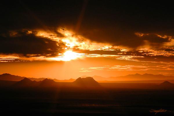 Orange Sunset at Picacho Peak