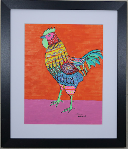 Chicken 1, Original Painting of a Chicken, Fine Art and Paintings for Sale by Teena Stewart of Serendipitini Studio