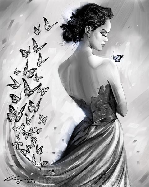 Butterfly Dream - Fine Art by Vahe Grigorian Los Angeles Artist - Digital Prints available for Canvas, HD Acrylic and more.custom art, digital portrait, portraits , art for sale