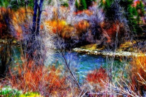 bright colors by a river