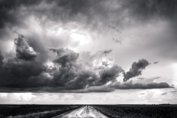 black and white photograph of storm clouds