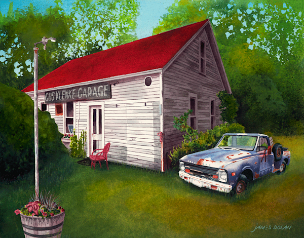 Gus Klenke Garage fine art print by Jim Dolan.