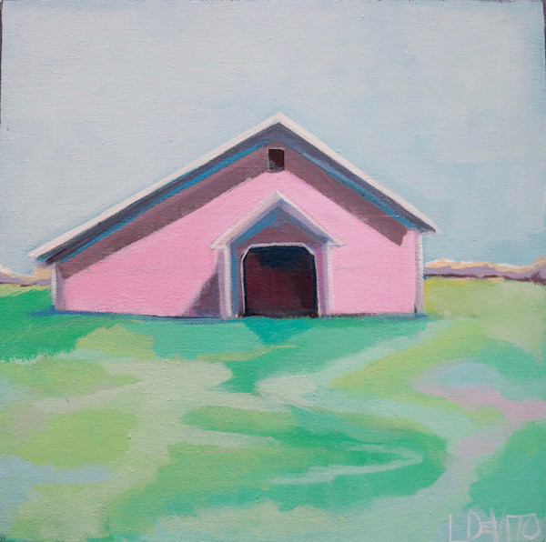 Lesli deVito colorful whimsical barn original abstract acylic paintings