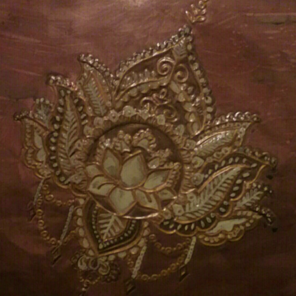 Lotus Copper Repoussé. Beautiful Hand tooled Spiritual Copper. Wall Decór by Adria. Copper Wall Art.