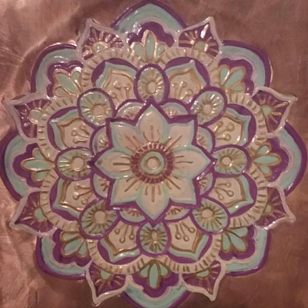 Beautiful Tranquility Flower Copper Repoussé Artistry by Adria.