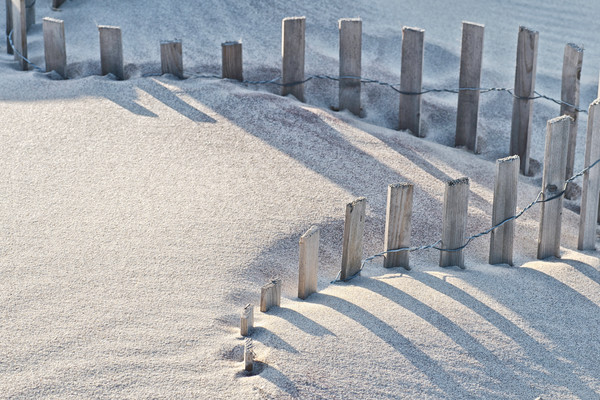 curved fences, landscapes of beaches and sand dunes, Fire Island beaches,