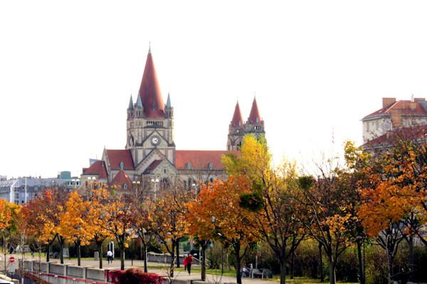 Along the Danube in Vienna, Austria in Autumn colors