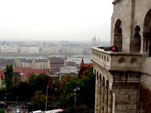 View of Buda and Pest at Danube River from a balcony