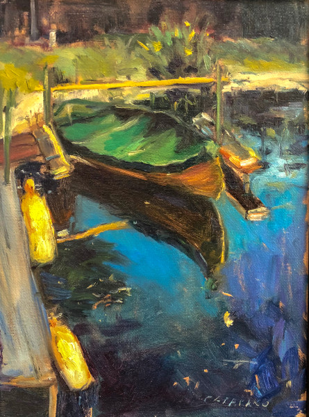 Boat on the Lake Michele Catapano Oil Painting