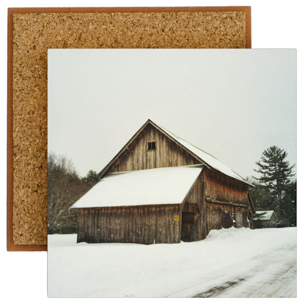 Catskill Winter Barn Photo Tile - for sale as 4x4 and 6x6-inch ceramic tiles