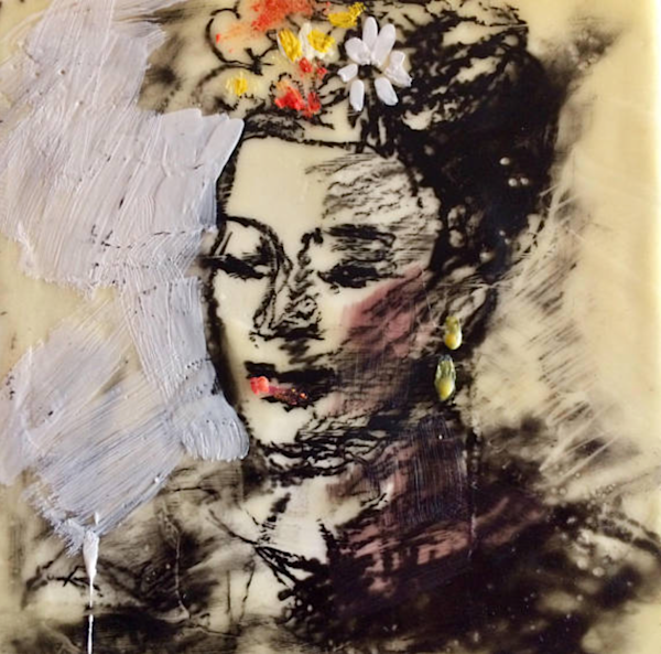 portrait of Frida Khalo encaustic wax and mixed media on wood