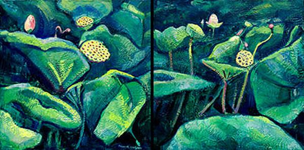 Chanticleer Lotus Encaustic Wax Diptych