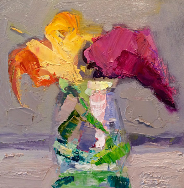 "Still life floral ""Still Life With Orange Daylilies and Magenta Ourple Butterfly Bush"". Original fine art by Monique Sarkessian. Lush vibrant oil painting ."