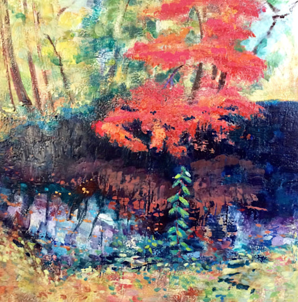 Encaustic Wax landscape red maple tree fall color encaustic wax painting.