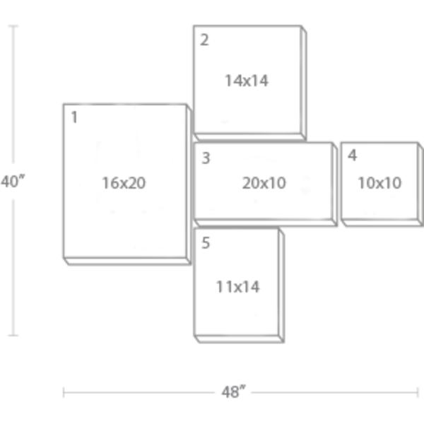 Express Canvas: Custom 48X40 5-Piece Canvas Print Wall Display Cluster
