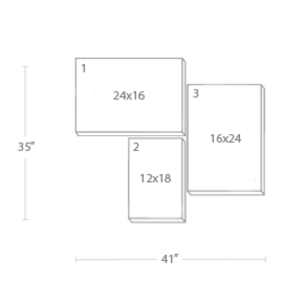 Express Canvas: Custom 41X35 3-Piece Canvas Print Wall Display Cluster